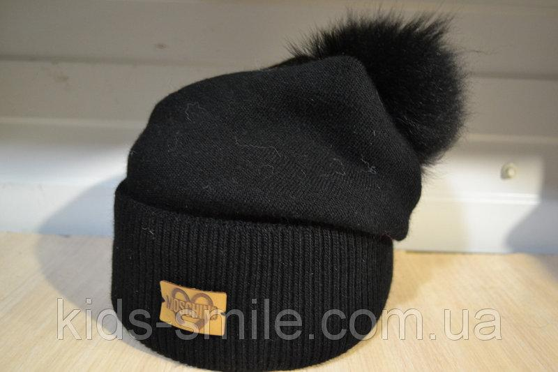 Молодежная шапка на флисе с бубоном цвет черный и коричневый