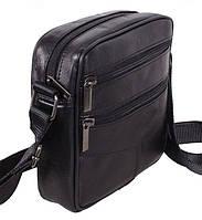 Кожаная мужская сумка SW11017 черная барсетка через плечо натуральная кожа 18х17х6см