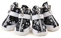 Ботинки для собак с мехом Снежинка-Черный