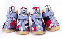 Ботинки для собак с мехом -Хаки, фото 1