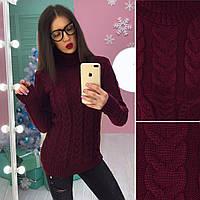 Вязаный свитер под горло Коса в расцветках АМС-1711.133(2)