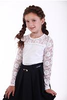 Блуза белая  с кружевным рукавом, фото 1
