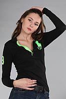 Черная хлопковая женская футболка поло с длинным рукавом мужская застежка (реплика) Polo ralph lauren