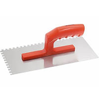 Гладилка стальная 280х130 мм зеркальная полировка пластмассовая ручка зуб 6х6 мм  MATRIX