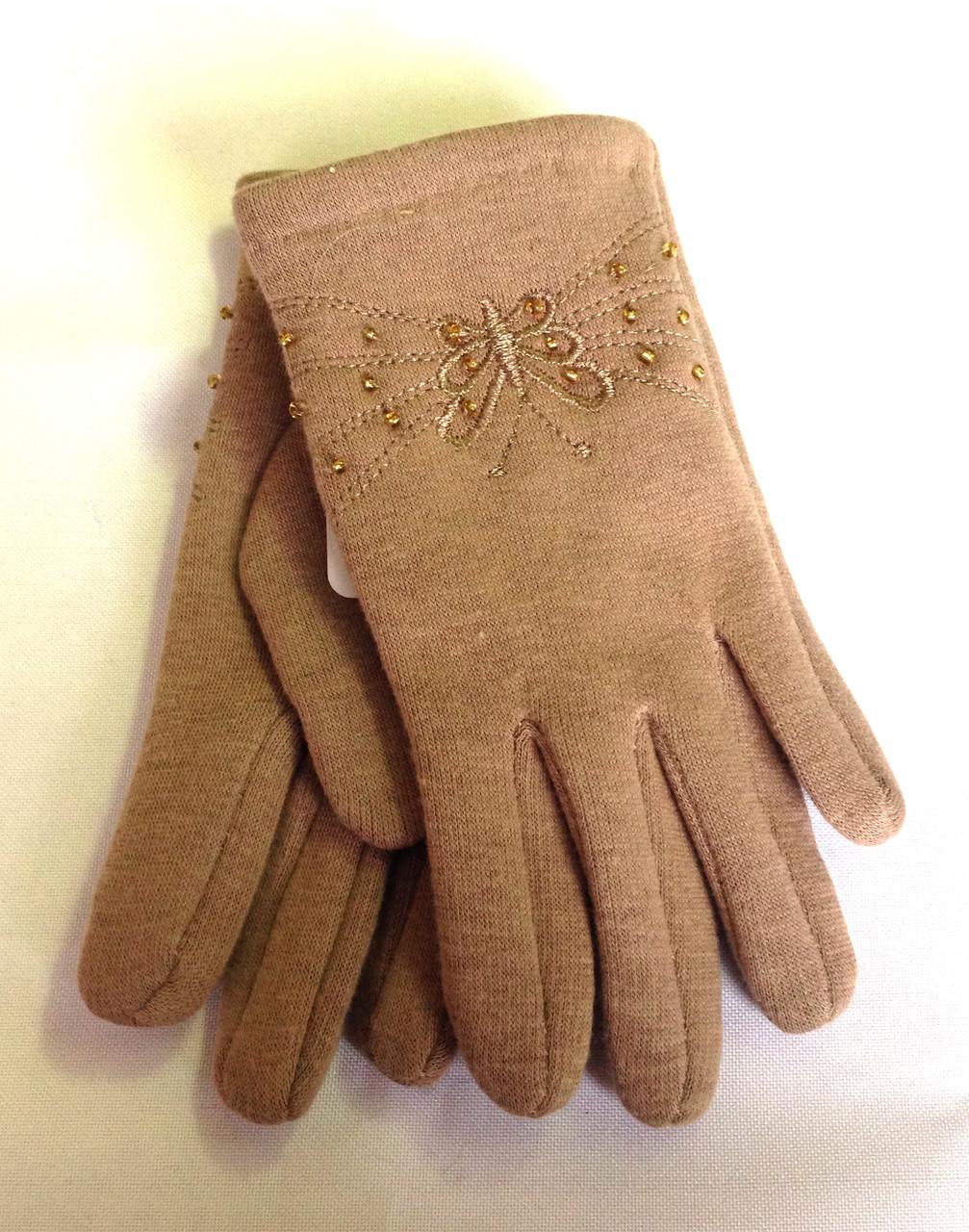 Детские перчатки трикотаж/флис, кофе с молоком (5-7 лет)