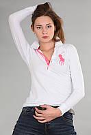 Женская футболка поло с длинным рукавом мужская застежка хлопок (реплика) Polo ralph lauren белого цвета
