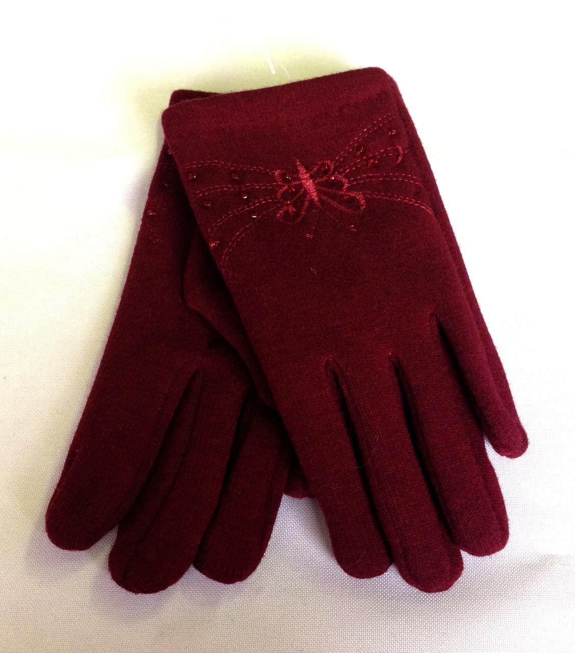 Дитячі перчатки трикотаж/фліс, бордові (5-7 років)