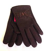 Детские перчатки трикотаж/флис, коричневые (5-7 лет)