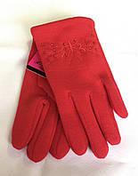Детские перчатки трикотаж/флис, красные (5-7 лет)