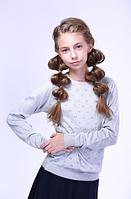 Джемпер  для девочек серый  с узором