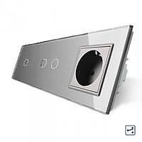 Сенсорный проходной выключатель Livolo 3 канала (1-2) с розеткой серый стекло (VL-C701S/C702S/C7C1EU-15), фото 1