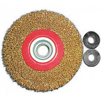 Корщетка-колесо 125 мм для заточных станков стальная латунированная витая проволока FIT