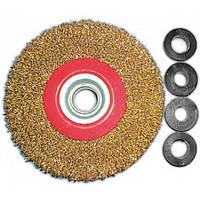 Корщетка-колесо 150 мм для заточных станков стальная латунированная витая проволока FIT