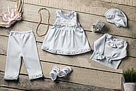 """Нарядный комплект с платьем на крещение или выписку """"Перлина"""" с шапочкой (Little Angel)"""