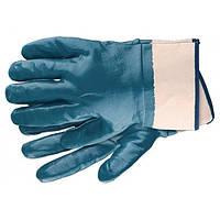 Перчатки рабочие из трикотажа с нитриловым обливом, крага, размер L СИБРТЕХ