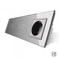 Сенсорный проходной выключатель Livolo 4 канала (2-2) с розеткой серый стекло (VL-C702S/C702S/C7C1EU-15), фото 1
