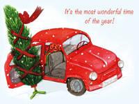 """Открытка с автомобилем """" Christmas car"""", фото 1"""