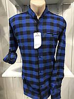 Рубашка мужская Senato полу-батал, длинный-короткий рукав, клетка №2, полу-кашемир 002\ купить рубашку