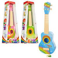 Гитара 3715-1-2-3 (36шт) 53см, струны 4шт, 3 вида, в кор-ке, 21,5-53,5-8,5см