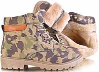 Зимние женские ботинки цвета хаки