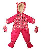 Детский зимний комбинезон (розовый снеговик)