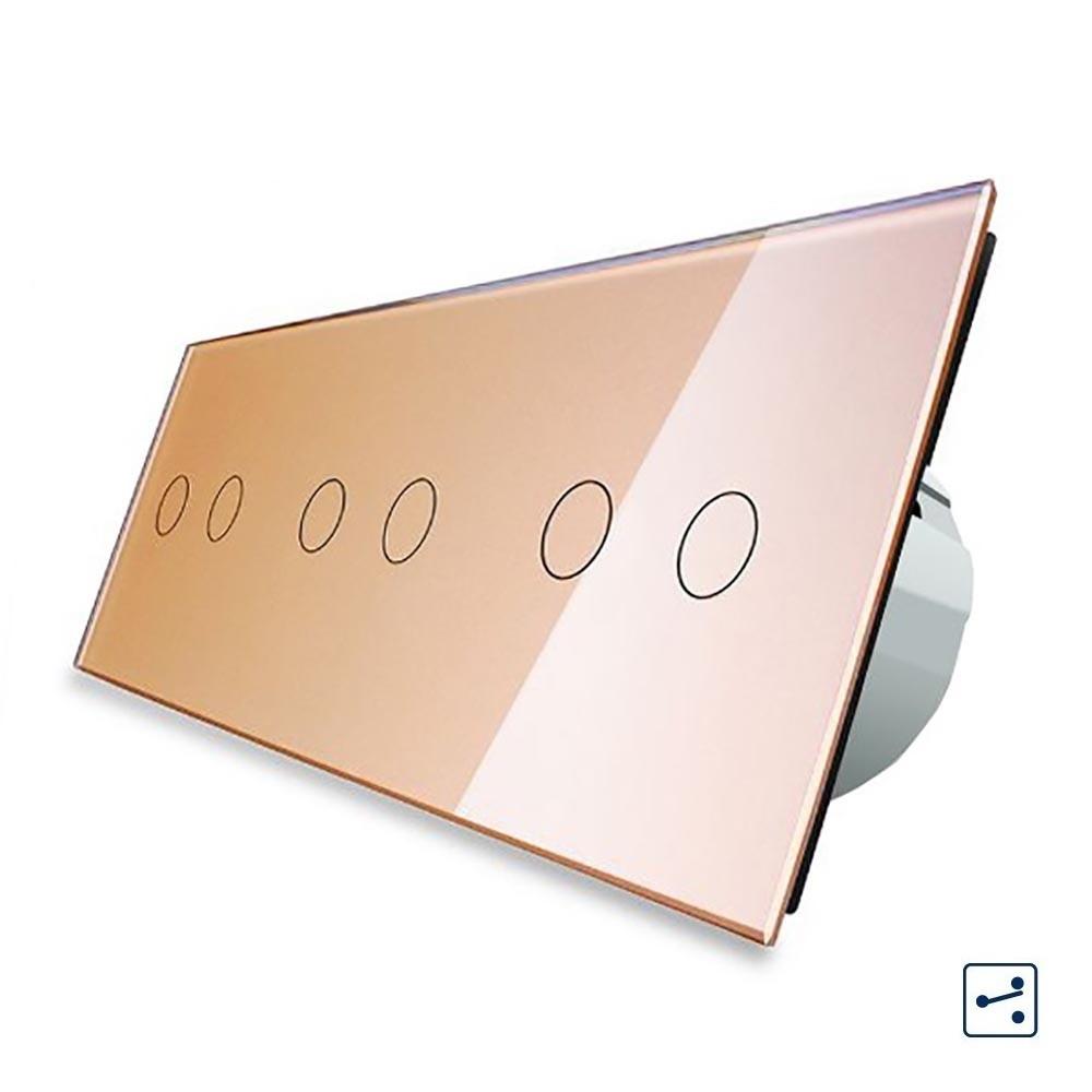 Сенсорный проходной выключатель Livolo на 6 каналов 2+2+2, цвет золотой, стекло (VL-C706S-13), фото 1