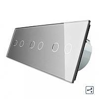 Сенсорный проходной выключатель Livolo на 6 каналов 2+2+2, цвет серый, стекло (VL-C706S-15), фото 1