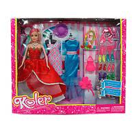 Кукла с нарядом A86963 (18шт) 28см,платья2шт,шляпа.резиночки,расческа,обувь,в кор-ке,40,5-32.5-6см