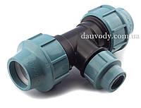 Трійник 90х75х90 затискний редукційний для поліетиленових труб пнд (Santehplast), фото 1