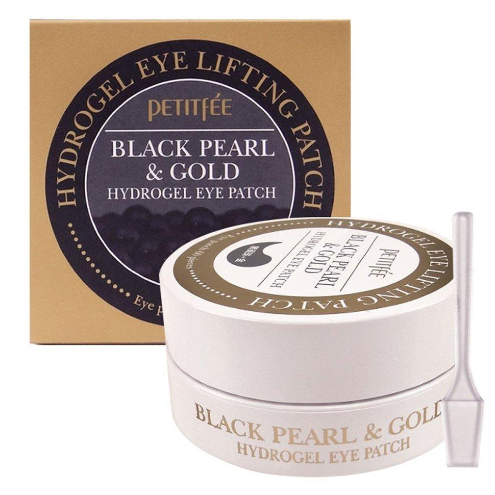 PETITFEE Black Pearl & Gold Hydrogel Eye Patch Гідрогелеві патчі для очей з золотом і чорним перлами 60шт