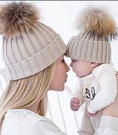 Шапки вязаные с помпоном. Для мамы и малыша!