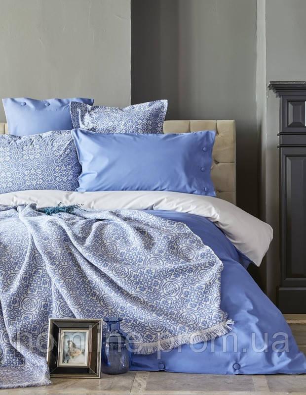 Набор постельное белье с пледом Karaca Home Marla индиго евро размера