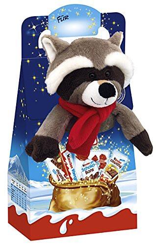 Новогодний набор сладостей Kinder Maxi Mix с мягкой игрушкой (Енот), 133 г.