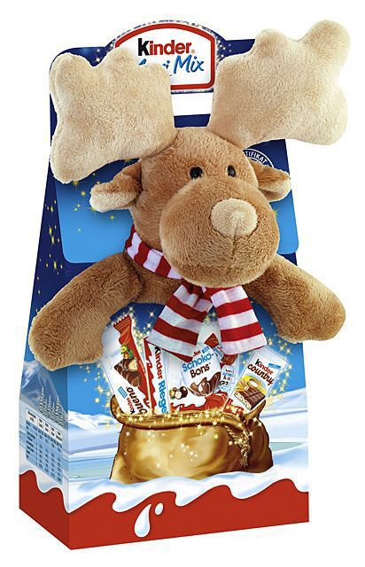 Новогодний набор сладостей Kinder Maxi Mix с мягкой игрушкой, 133 г.