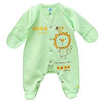 Утепленный комбинезон-человечек для новорожденных с царапками (футер)