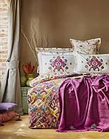 Набор постельное белье с пледом Karaca Home Putisca фиолетовый евро размера