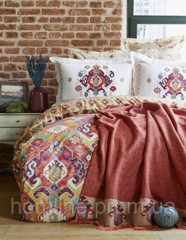 Набор постельное белье с пледом Karaca Home Putisca оранжевый евро размера
