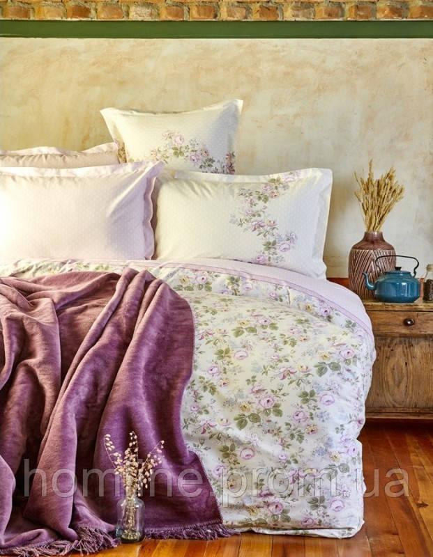 Набор постельное белье с пледом Karaca Home Shale лиловый евро размера