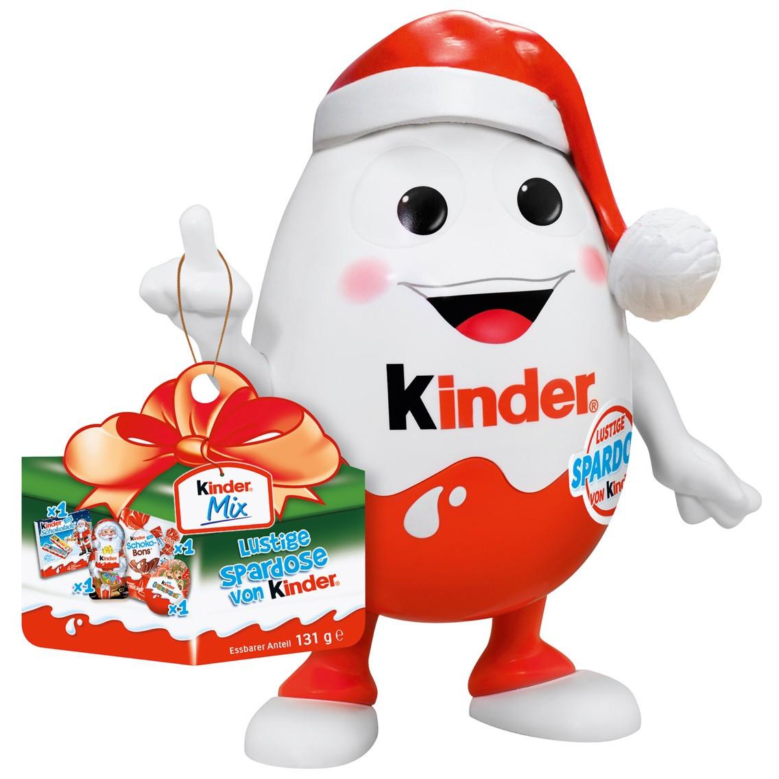 Новорічний Kinderino Kinder mix набір солодощів, іграшка - скарбничка, 131 грам