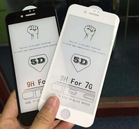 Защитное стекло 5D для iPhone 7 8 белое или черное противоударное с двойной защитой