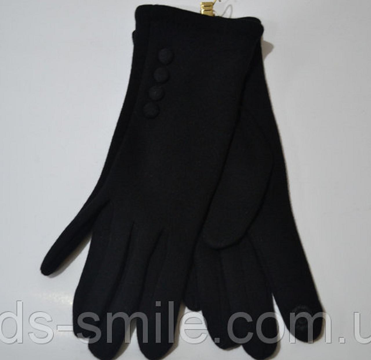 Черные перчатки трикотажные сенсорные с  байкой