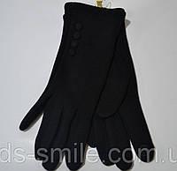 Черные перчатки трикотажные сенсорные с  байкой, фото 1