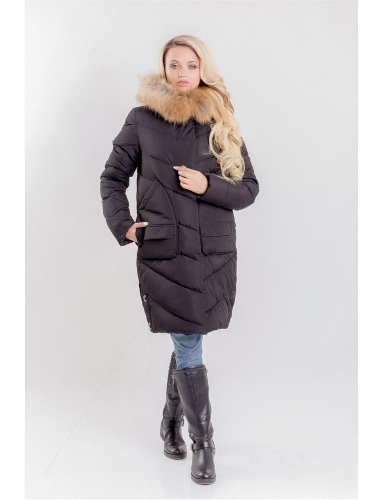 2128d5c6cd2 Женская зимняя куртка с потайной застежкой и натуральным мехом на капюшоне