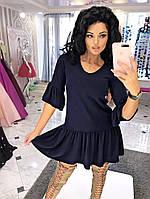 Платье из ангоры с рюшем-юбкой, Рукав 3/4 воланом Норма Модель 1076 (ИНГ)