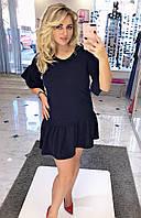 Платье из ангоры с рюшем-юбкой Рукав 3/4 воланом Батал  Модель 1076 (ИНГ)
