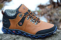 Кроссовки зимние кожанные ботинки полуботинки     мужские рыжие (Код: 286)