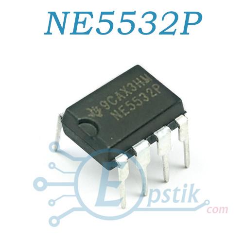 NE5532P, двухканальный малошумящий ОУ, 10МГц  ±15В, DIP-8