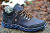 Кроссовки ботинки зимние кожа натуральный мех мужские синие Columbia Коламбия реплика (Код: 288)