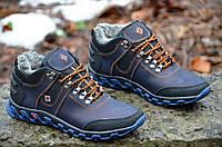 Кроссовки ботинки зимние кожа мужские темно синие Columbia Коламбия реплика для водителя (Код: 288а)