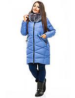 Женская зимняя куртка большого размера на молнии с капюшоном